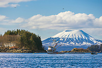 Cape purse seiner, Sitka Channel, Inactive volcano Mount Edgecumbe, located on Kruzof Island, southeast, Alaska.