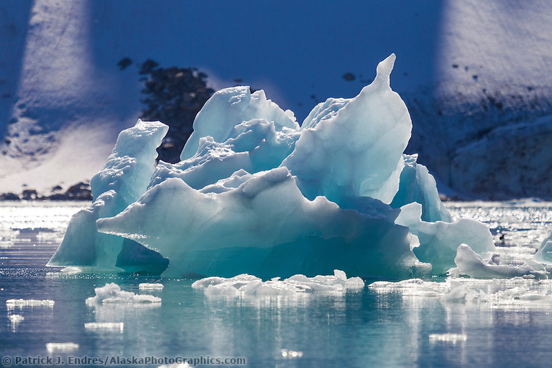 Glacier icebergs along the waters of Svalbard, Norway.