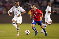 USA's Juan Agudelo (17) passes off the the ball. US Men's National team played the National team of Chile to 1-1 draw at Home Depot Center stadium in Carson, California on Saturday January 22, 2010.