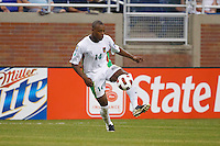 Panama defender Eduardo Dasent (14) dribbles the ball during the CONCACAF soccer match between Panama and Guadeloupe at Ford Field Detroit, Michigan.