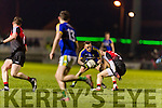 Barry John Keane Kerry in action against Keith Higgins Mayo in the National Football league at Austin Stack Park, Tralee on Saturday night.