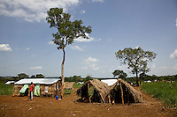 Refugee homes in Nyori refugee camp, South Sudan.