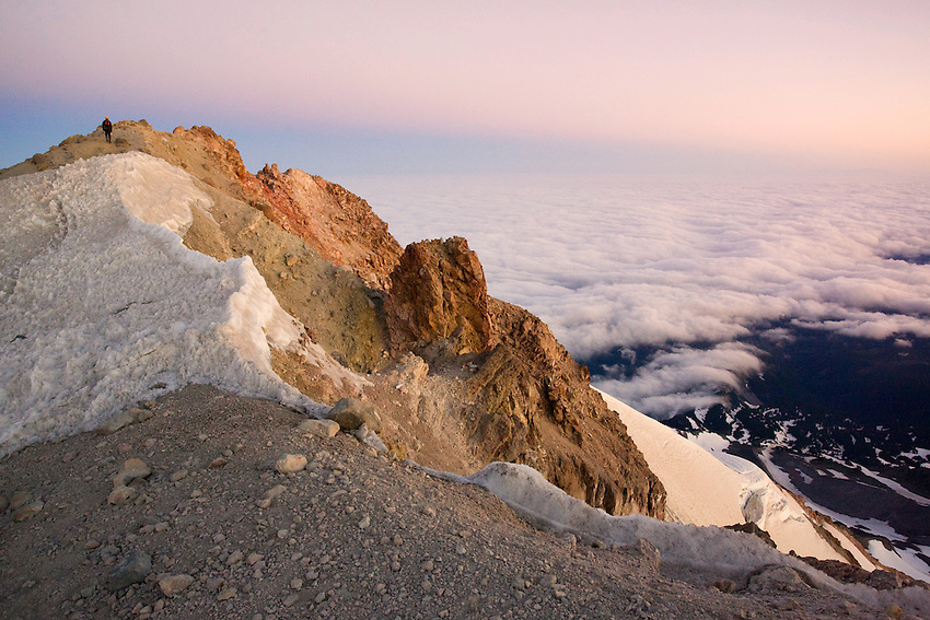 """""""SUMMIT RIDGE DAWN"""" -- A lonely sunrise while walking along the summit ridge of Oregon's Mount Hood as the clouds roll nearly 5,000 feet below."""