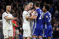 Valon Behrami of Watford points his finger at Chelsea's John Terry during Chelsea vs Watford, Premier League Football at Stamford Bridge on 15th May 2017