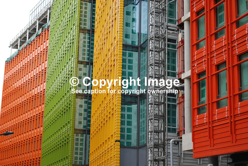 Central Saint Giles development, central London, UK. Architect, Renzo Piano, Italy. Development includes office, appartments, retail units, restaurants, cafes and a public piazza. Most distinctive feature is the multicoloured glazed ceramic cladding that makes the building stand out. 200909223083..Copyright Image from Victor Patterson, 54 Dorchester Park, Belfast, UK, BT9 6RJ..Tel: +44 28 9066 1296.Mob: +44 7802 353836.Voicemail +44 20 8816 7153.Skype: victorpattersonbelfast.Email: victorpatterson@mac.com.Email: victorpatterson@ireland.com (back-up)..IMPORTANT: If you wish to use this image or any other of my images please go to www.victorpatterson.com and click on the Terms & Conditions. Then contact me by email or phone with the reference number(s) of the image(s) concerned.