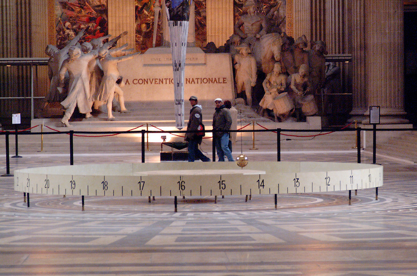 Foucault's Pendulum, inside the Parthenon in Paris, France.