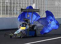 Feb. 16, 2013; Pomona, CA, USA; NHRA top fuel dragster driver Sidnei Frigo during qualifying for the Winternationals at Auto Club Raceway at Pomona.. Mandatory Credit: Mark J. Rebilas-