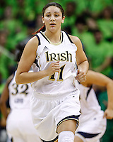 SOUTH BEND, IN - FEBRUARY 11: Natalie Achonwa #11 of the Notre Dame Fighting Irish runs up court  during the game against the Louisville Cardinals at Purcel Pavilion on February 11, 2013 in South Bend, Indiana. Notre Dame defeated Louisville 93-64. (Photo by Michael Hickey/Getty Images) *** Local Caption *** Natalie Achonwa