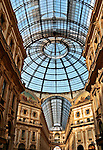 Looking up inside the Galleria in Milan, Italy