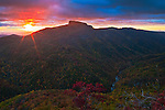 Autumn sunrise over the Linville Gorge and Table Rock