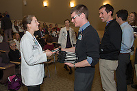 Student Clinician Ceremony. Zoe Agoos, left, class of 2014, left, and Jonathan Galli, Class of 2015.