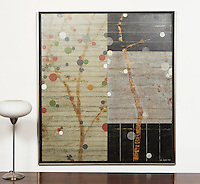 "Hyun: Cherry Blossom 0707, Digital Print, 43.75""x 48.75"" x 1"" Silver Leaf Float Frame"