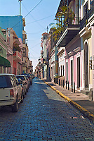 Old San Juan, Historic, Colonial Section, Puerto Rico, USA, Cobble Stone, Streets