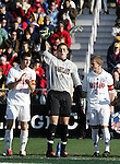 Maryland goalkeeper Chris Seitz (0) flanked by team captains Jason Garey (9) and Michael Dello-Russo (2). The University of Maryland Terrapins defeated the University of New Mexico Lobos 1-0 in the Men's College Cup Championship game at SAS Stadium in Cary, NC, Friday, December 11, 2005.