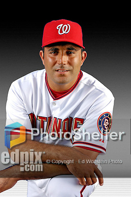 25 February 2007: Washington Nationals catcher Juan Brito poses for his Photo Day portrait at Space Coast Stadium in Viera, Florida.<br /> <br /> Mandatory Photo Credit: Ed Wolfstein Photo<br /> <br /> Note: This image is available in a RAW (NEF) File Format - contact Photographer.