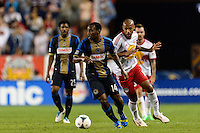 Amobi Okugo (14) of the Philadelphia Union. The New York Red Bulls and the Philadelphia Union played to a 0-0 tie during a Major League Soccer (MLS) match at Red Bull Arena in Harrison, NJ, on August 17, 2013.