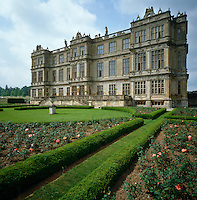 The grand facade of Longleat seen from across the rose garden
