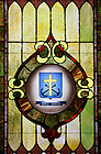 C.S.C. seal in a stained glass window in Corby Hall chapel
