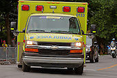 An ambulance  on Montreal street in summer