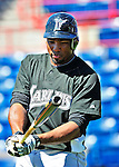 8 March 2010: Florida Marlins' infielder Hector Luna awaits his turn in the batting cage prior to a Spring Training game against the Washington Nationals at Space Coast Stadium in Viera, Florida. The Marlins defeated the Nationals 12-2 in Grapefruit League action. Mandatory Credit: Ed Wolfstein Photo