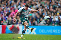 Freddie Burns of Leicester Tigers kicks for the posts. European Rugby Champions Cup quarter final, between Leicester Tigers and Stade Francais on April 10, 2016 at Welford Road in Leicester, England. Photo by: Patrick Khachfe / JMP