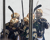 The Irish celebrate Thomas DiPauli's (ND - 14) goal. - The visiting University of Notre Dame Fighting Irish defeated the Boston College Eagles 7-2 on Friday, March 14, 2014, in the first game of their Hockey East quarterfinals matchup at Kelley Rink in Conte Forum in Chestnut Hill, Massachusetts.