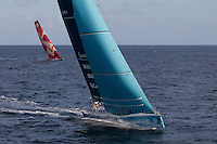 FRANCE,  Point Penmarc'h. 1st July 2012. Volvo Ocean Race, Leg 9 Lorient-Galway.  Team Telefonica  and CAMPER with Emirates Team New Zealand.