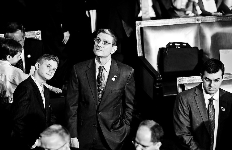 Rep.-elect Joe Heck and his son Joe take in the House Chamber as the 112th Congress convenes on Jan. 5, 2011, to swear in members and to elect a Speaker of the House. (Photo By Bill Clark/Roll Call)