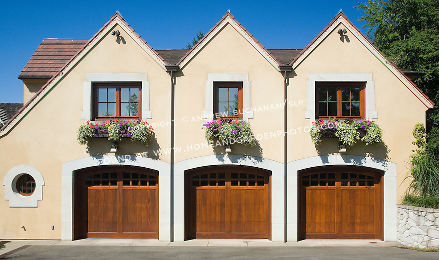 Image of windowboxes filled with summer annuals for Garage with living quarters above