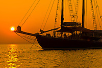Sunset, Schooner Nathaniel Bowditch, moored in Holbrook Bay (part of Penobscot Bay), Maine USA