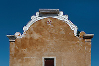 Detail of the facade of the Old synagogue showing the star of David underneath the muslim crescent, Portuguese Fortified city of Mazagan, El Jadida, Morocco. Picture by Manuel Cohen