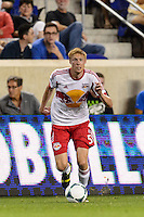 Markus Holgersson (5) of the New York Red Bulls. The New York Red Bulls and the Philadelphia Union played to a 0-0 tie during a Major League Soccer (MLS) match at Red Bull Arena in Harrison, NJ, on August 17, 2013.