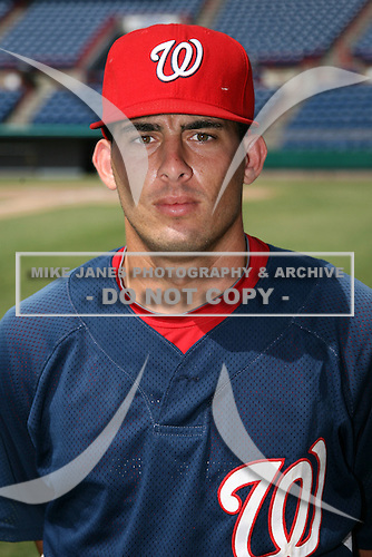 October 4, 2009:  Catcher Adrian Nieto of the Washington Nationals organization during an Instructional League game at Space Coast Stadium in Viera, FL.  Nieto was selected in the 5th round of the 2008 MLB Draft.  Photo by:  Mike Janes/Four Seam Images