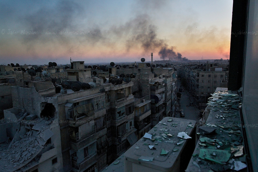 Several neighborhoods in Aleppo have been heavily damaged by shelling, mortar rounds and airplane bombs since the conflict began in Aleppo in mid July 2012...© Javier Manzano