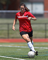 Aztec MA defender Jenna Roncarati (15) controls the ball. In a Women's Premier Soccer League (WPSL) match, Aztec MA defeated CFC Passion, 4-0, at North Reading High School Stadium on July 1, 2012.