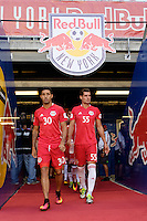 Harrison, NJ - Wednesday Aug. 03, 2016: Gonzalo Veron, Damien Perrinelle during a CONCACAF Champions League match between the New York Red Bulls and Antigua at Red Bull Arena.