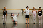 From left, Sophia Bonenfant, 8, of Granite Bay, Dafydd Wynne, 8,  of Sacramento, Taylor Graves, 8, of Sacramento, Alexander, and Allie Umemoto, 6, of Sacramento audition for the Sacramento Ballet's Nutcracker production on Sunday, September 10, 2006. (Photo by Max Whittaker)