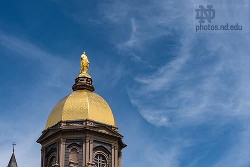 April 22, 2017; Golden Dome, spring 2017. (Photo by Barbara Johnston/University of Notre Dame)