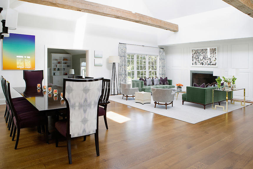 classic living room with dining table