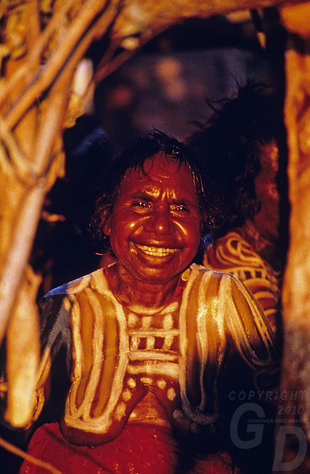Traditional Aboriginal women with full tribal body paint during a rare ceremony in Central Australia, Northern Territory, NT