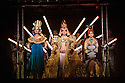 """EMBARGOED UNTIL FRIDAY 4th MARCH 2016, 7:30pm:  London, UK. 02.03.2016. English National Opera presents """"Akhnaten"""", composed by Philip Glass, and directed by Phelim McDermott. Picture shows: Emma Carrington (Nefertiti), Anthony Roth (Akhnaten), Rebecca Bottone (Queen Tye). Photograph © Jane Hobson."""