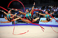 Senior rhythmic group from Belarus performs at 2010 World Cup at Portimao, Portugal on March 13, 2010.  (Photo by Tom Theobald).