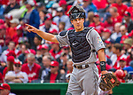 7 April 2016: Miami Marlins catcher J.T. Realmuto in action during the Washington Nationals Home Opening Game at Nationals Park in Washington, DC. The Marlins defeated the Nationals 6-4 in their first meeting of the 2016 MLB season. Mandatory Credit: Ed Wolfstein Photo *** RAW (NEF) Image File Available ***
