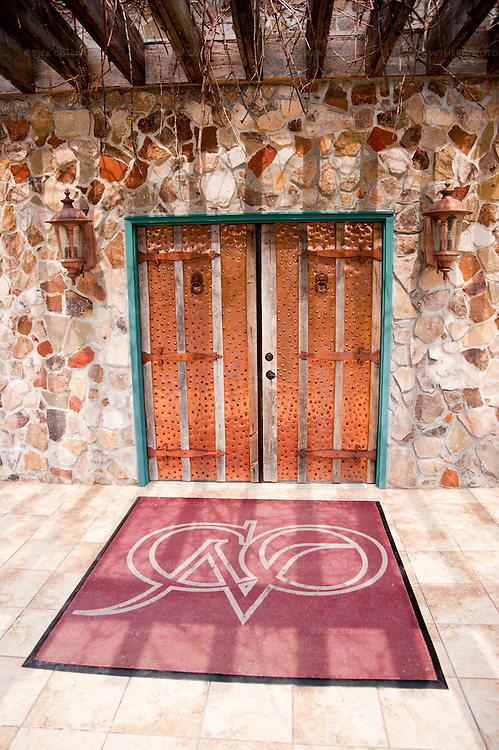 The copper-clad front door at Chateau O'Brien Winery and Vineyard.