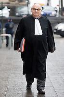 Delphine Bo&ecirc;l devant la 12e chambre du tribunal civil de Bruxelles pour une proc&eacute;dure en contestation de paternit&eacute; de Jacques Bo&euml;l, son p&egrave;re l&eacute;gal, et une proc&eacute;dure en reconnaissance de paternit&eacute; du roi Albert II de Belgique. Delphine Bo&euml;l dit &ecirc;tre la fille d'Albert II avec qui sa m&egrave;re, Sybille de Selys Longchamps, a eu une liaison entre 1966 et 1984. L'affaire a &eacute;t&eacute; prise en d&eacute;lib&eacute;r&eacute; et le jugement devrait &ecirc;tre rendu dans le d&eacute;lai l&eacute;gal d'un mois, selon les avocats.<br /> Belgian artist Delphine Boel pictured during the convocation of King Albert II, in the double case of Delphine Boel who contests the paternity of her father Jacques Boel and asks for the recognition of the paternity of King Albert II of Belgium, at the Brussels Trial Court of First Instance, Tuesday 21 February 2017, in Brussels. Boel intends to prove she is Albert II's biological <br /> Belgium, Brussels, 21 st February.<br /> Pic :  Alain Berenboom, avocat du roi Albert II de Belgique