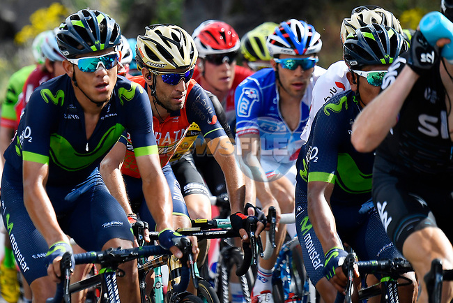 The peloton including Vincenzo Nibali (ITA) Bahrain-Merida and Nairo Quintana (COL) Movistar Team in action during Stage 4 of the 100th edition of the Giro d'Italia 2017, running 181km from Cefalu to Mount Etna, Sicily, Italy. 9th May 2017.<br /> Picture: LaPresse/Fabio Ferrari   Cyclefile<br /> <br /> <br /> All photos usage must carry mandatory copyright credit (&copy; Cyclefile   LaPresse/Fabio Ferrari)