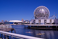 """Vancouver, BC, British Columbia, Canada - Telus World of Science at """"False Creek"""",  BC Place Stadium and Downtown City beyond"""