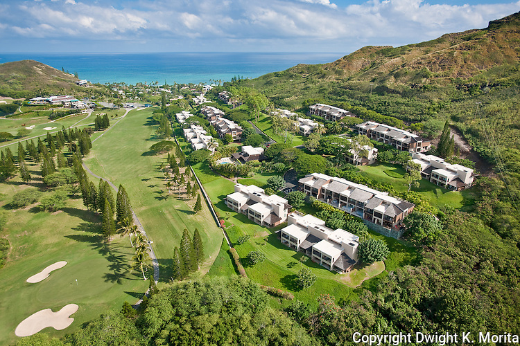 Bluestone Condominiums - Kaelepulu street condos along the hillside overlooking the 18th fairway leading to the clubhouse at the Mid-Pacific Country Club.