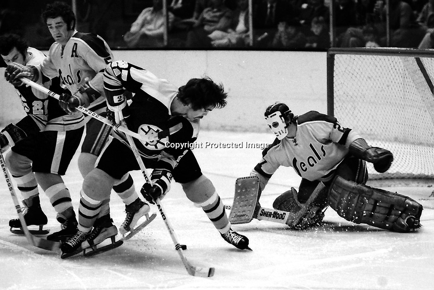 Boston Bruins Doug Gibson shot on Seals goalie Giles Meloche.,Seals Rick Smith  (photo 1973 by Ron Riesterer)