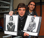Nacho Novo and Pedro Mendes with Rangers charity calendar